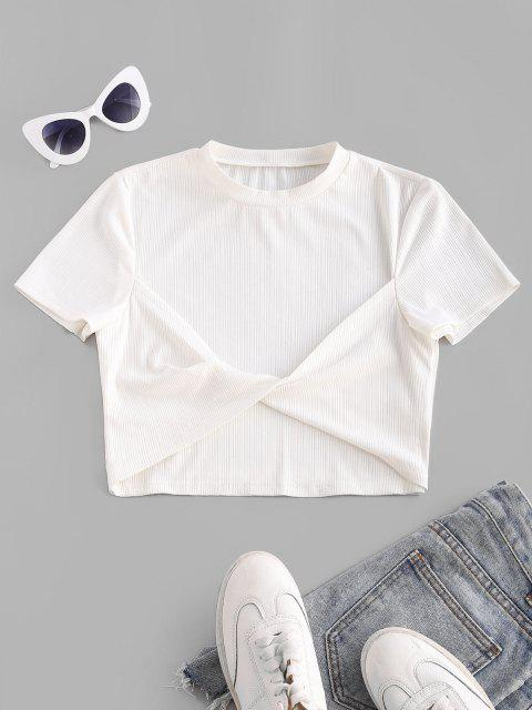 hot ZAFUL Ribbed Twisted Fitted Crop T Shirt - WHITE S Mobile