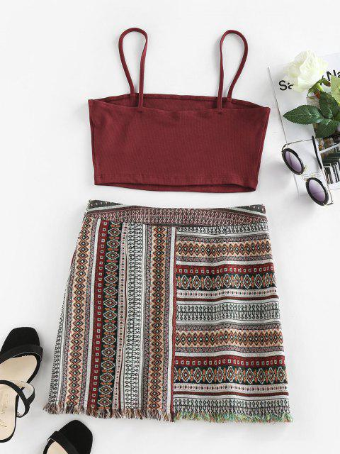 unique ZAFUL Ribbed Aztec Print Frayed Mini Skirt Set - MULTI M Mobile