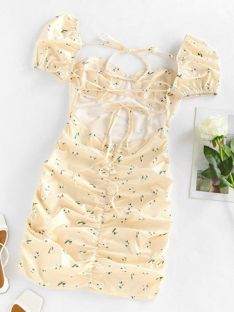 Puff Sleeve Ditsy Print Lace Up Dress - أصفر فاتح L Mobile