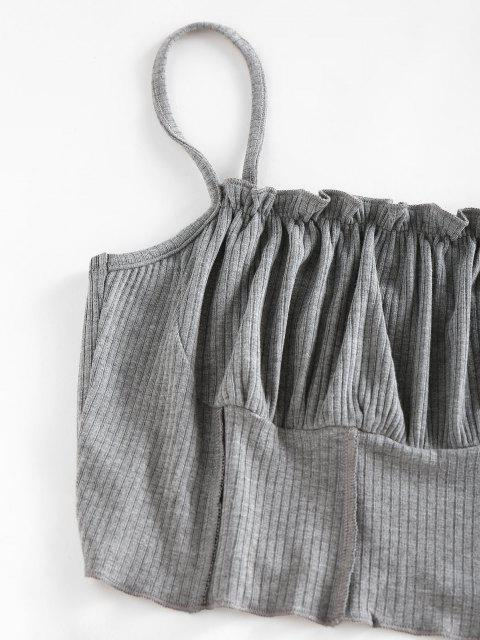 unique ZAFUL Ribbed Ruched Bust Topstitching Ruffle Camisole - GRAY XL Mobile