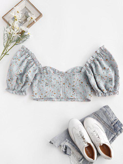 women ZAFUL Ditsy Floral Puff Sleeve Zip Crop Milkmaid Blouse - LIGHT BLUE M Mobile