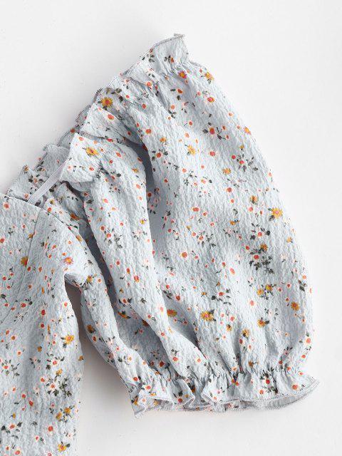 ZAFUL Ditsy Blumen Puff Ärmel Crop Milkmaid Bluse - Hellblau S Mobile