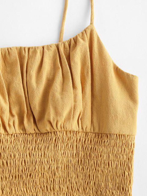 women's ZAFUL Smocked Ruched Cropped Cami Top - DEEP YELLOW S Mobile
