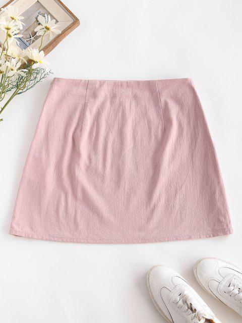 chic ZAFUL Tassel Crochet Panel A Line Skirt - LIGHT PINK M Mobile