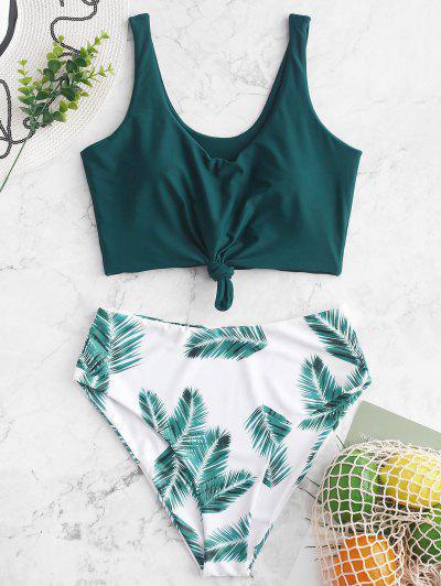 ZAFUL Leaf Print Knot Mix And Match Tankini Swimsuit - Peacock Blue M