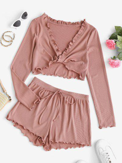 ZAFUL Lettuce Trim Plunge Front Twist Two Piece Shorts Set - Pink Rose M