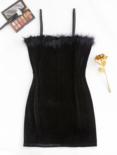 ZAFUL Plus Size Feather Trim Velvet Slinky Dress - Black L