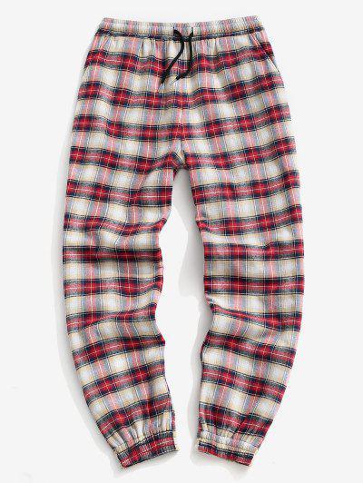 Pantalon De Jogging à Carreaux Imprimé En Laine - Rouge M