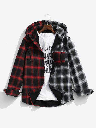 Hooded Contrast Plaid Print Fleece Jacket - Deep Red Xl