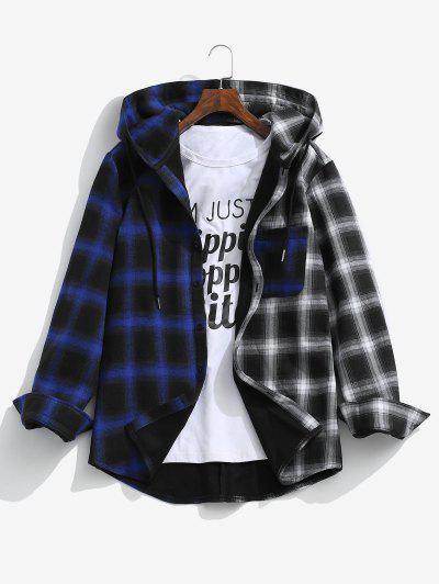 Hooded Contrast Plaid Print Fleece Jacket - Deep Blue S