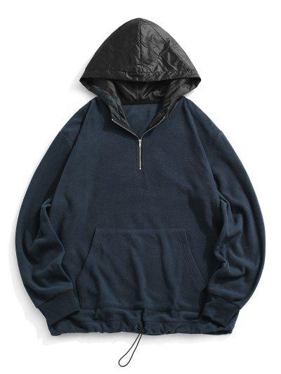 Colorblock Panel Fleece Quarter Zip Hoodie - Deep Blue M