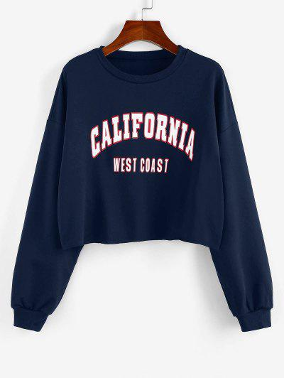 ZAFUL Letter Print Cropped Sweatshirt - Deep Blue S