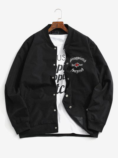 Flower Graphic Print Button Up Jacket - Black Xs