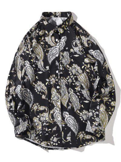 Flower Vintage Print Pocket Long Sleeve Shirt - Night M