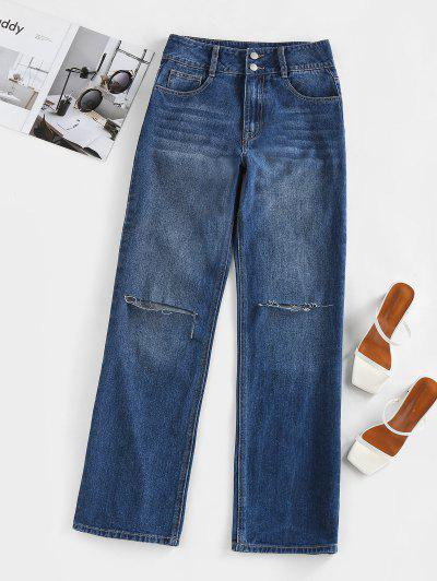 ZAFUL Knee Ripped High Waisted Straight Jeans - Deep Blue S