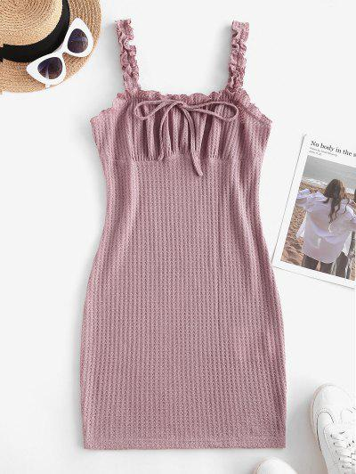 ZAFUL Frilled Tie Knitted Bodycon Dress - Light Pink M