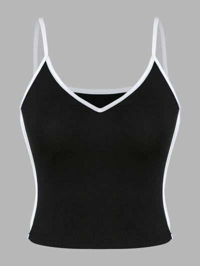 Contrast Binding Crop Cami Top - Black M