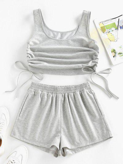 ZAFUL Cinched Side Crop Top And Shorts Co Ord Set - Light Gray S