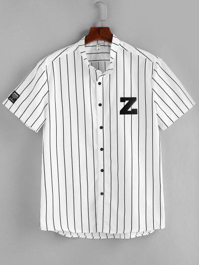ZAFUL Letter Striped Print Button Up Shirt - White M