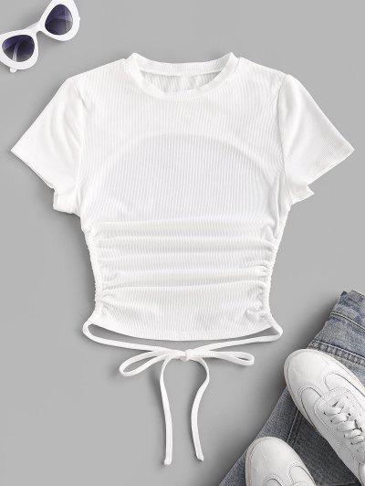 ZAFUL T-shirt De Base Côtelé Ouvert Au Dos à Manches Courtes - Blanc S