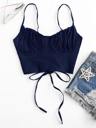 Ruched Lace-up Bustier Cami Top - Albastru Inchis L