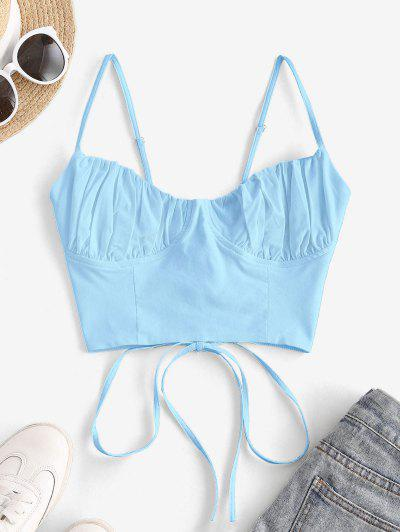 Ruched Lace-up Bustier Cami Top - Light Blue S