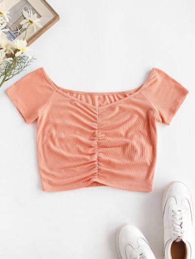ZAFUL T-shirt Court Plongeant Côtelé à Volants - Rose Clair M