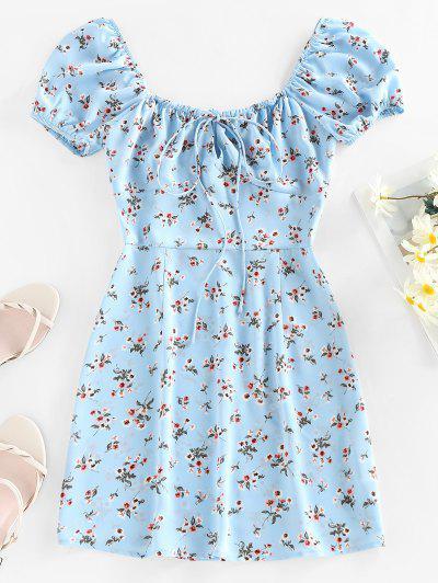 ZAFUL Floral Keyhole Bowknot Puff Sleeve Dress - Light Blue M