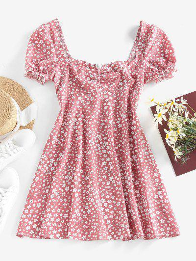 ZAFUL Ditsy Print Puff Sleeve Ruffle Ruched Mini Dress - Light Pink M