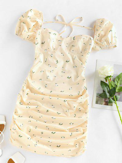 Puff Sleeve Ditsy Print Lace Up Dress - Light Yellow M