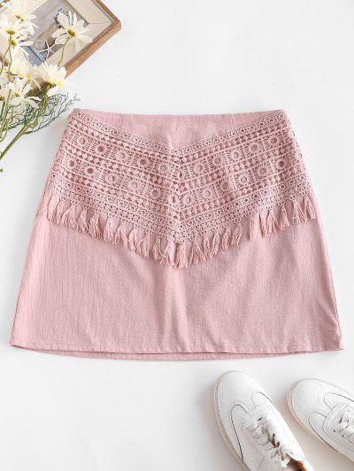 ZAFUL Tassel Crochet Panel A Line Skirt - Light Pink S