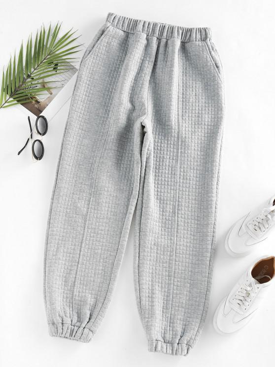 lady ZAFUL High Waisted Quilted Sweatpants - LIGHT GRAY S