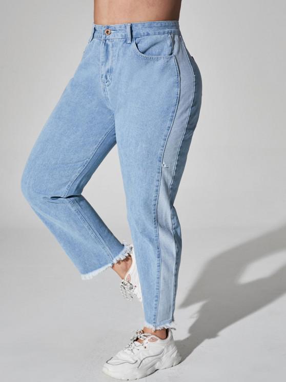 Plus Size Bicolor Raw Hem Jeans - أزرق فاتح 1XL