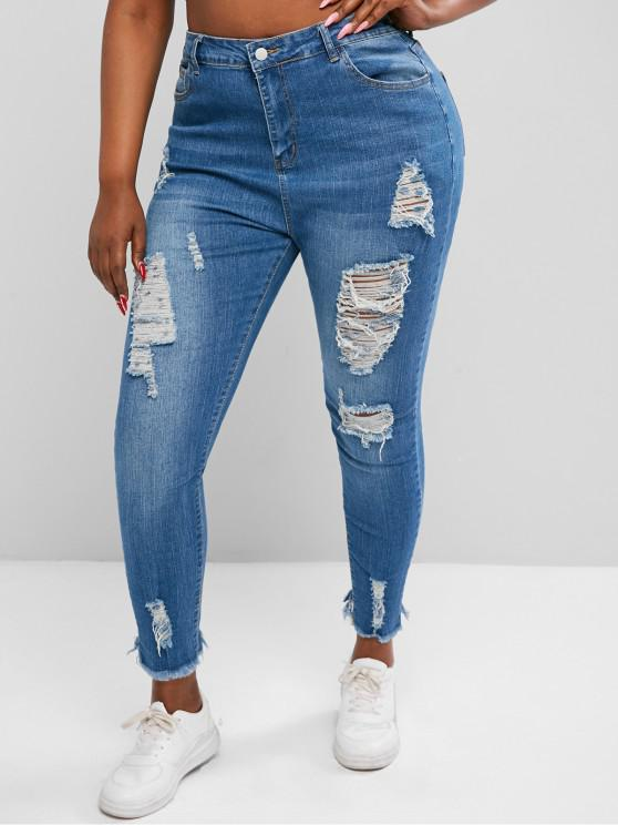 Übergröße Riss Roh Saum Stretch Hohe Dünne Jeans - Blau 3XL