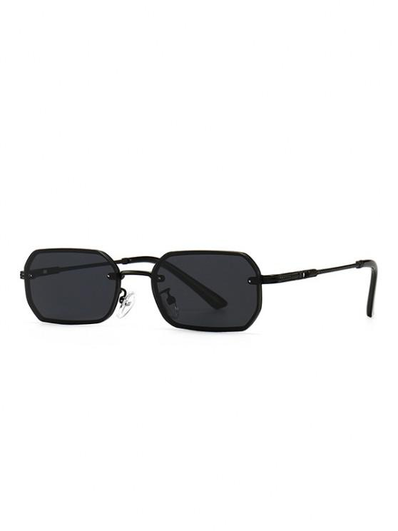 women's Engraved Temple Metal Irregular Sunglasses - BLACK