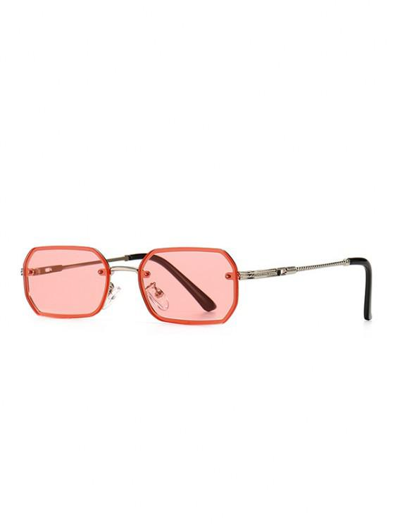 lady Engraved Temple Metal Irregular Sunglasses - PIG PINK