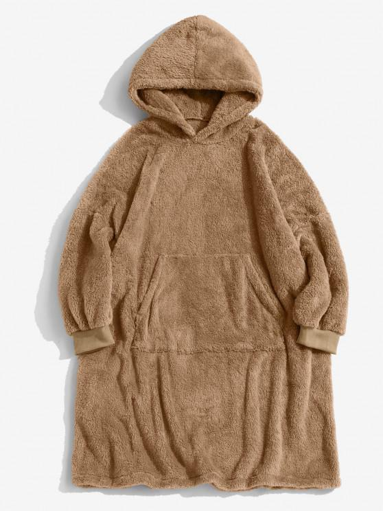 chic Front Pocket Drop Shoulder Fluffy Blanket Hoodie - COFFEE XL