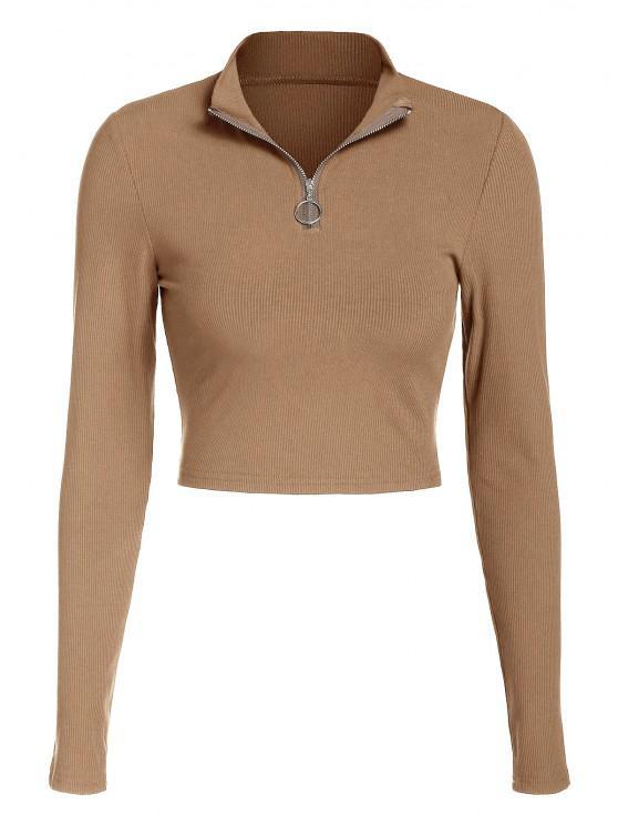 T-Shirt Corta con Cerniera di ZAFUL - caffè leggero L