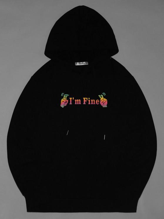 I'm Fine Gesture Reflective Pattern Hoodie - أسود M