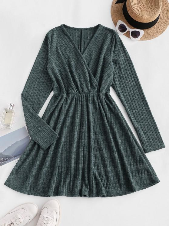 lady Long Sleeve Ribbed Heathered Knit Dress - DEEP GREEN M