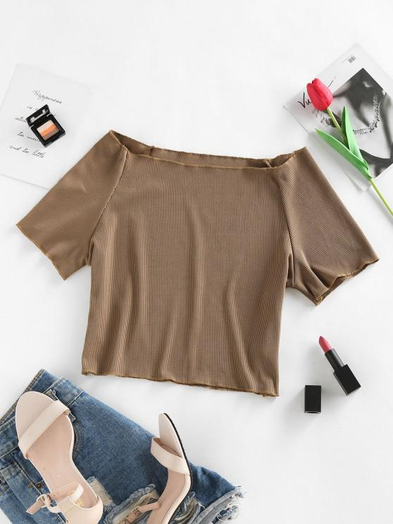 ladies ZAFUL Off Shoulder Ribbed Topstitch Baby Tee - COFFEE M