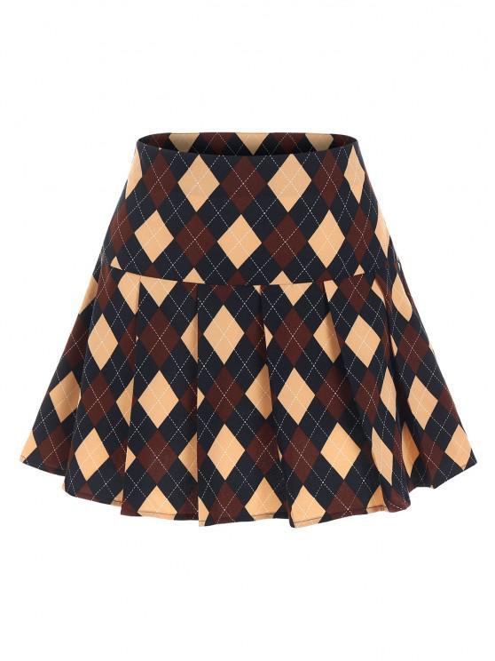 women ZAFUL Argyle Printed Pleated Flare Skirt - DEEP BLUE S