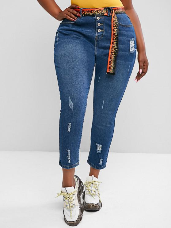 Plus Size Ripped Button Fly Jeans - أزرق 5XL