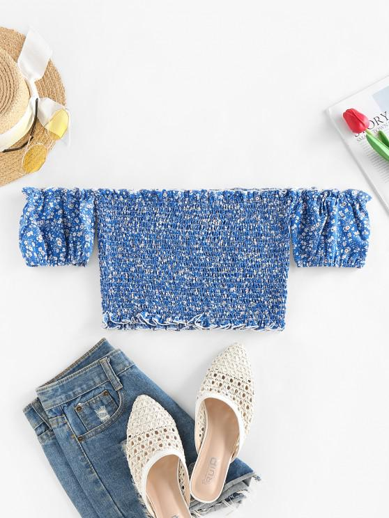 womens ZAFUL Ditsy Print Off Shoulder Smocked Ruffle Crop Blouse - BLUE S