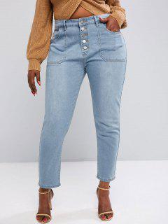 Plus Size Button Fly Patch Pocket Jeans - Light Blue L