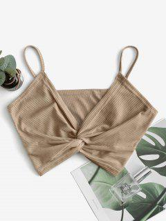 ZAFUL Ribbed Twisted Front Crop Cami Top - Coffee L