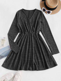 Long Sleeve Ribbed Heathered Knit Dress - Black S