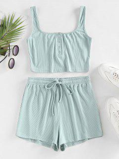 ZAFUL Ribbed Henley Tank Top And Drawstring Shorts Set - Light Green M