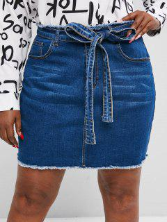 Plus Size Belted Raw Hem Jean Skirt - Blue L