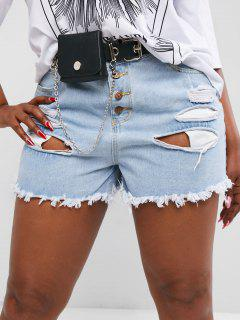 Plus Size Button Fly Ripped Raw Hem Jean Shorts - Blue L